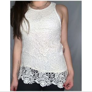 [Lucky Brand] NWT Floral Crochet Lace Overlay Tank